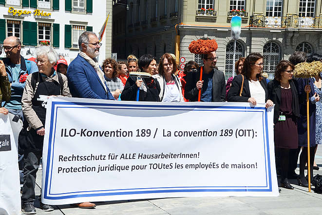 Manifestation pour le respect de la Convention 189 de l'OIT