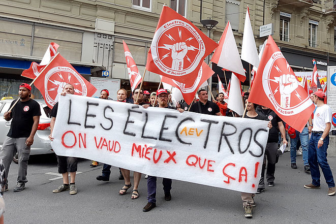 Demonstration der Elektriker/innen in Lausanne